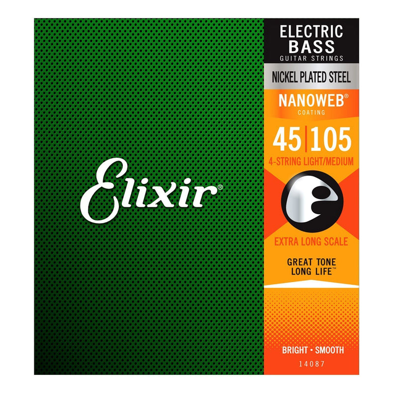 E14087-Elixir 14087 Light/Medium Nickel Plated Nanoweb Extra Long Scale Bass Guitar Strings (45-105)-Living Music