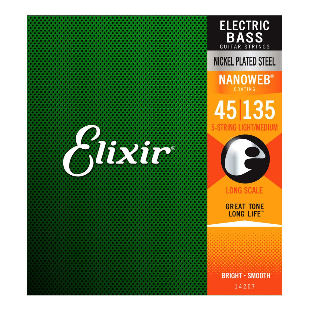 E14207-Elixir 14207 Light/Medium Nickel Plated Nanoweb 5 String Bass Guitar Strings (50-105)-Living Music
