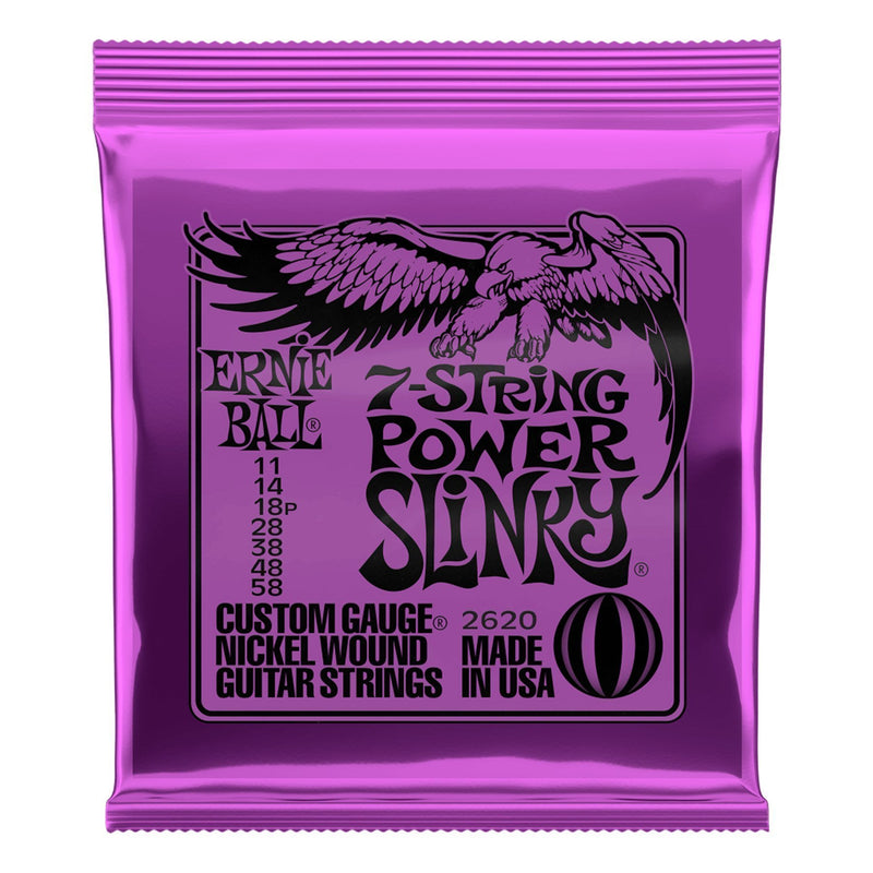 2620-Ernie Ball 2620 Power Slinky 7-String Nickel Wound Electric Guitar Strings (11-58)-Living Music