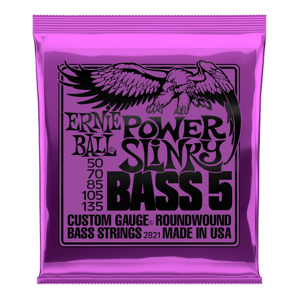 2821-Ernie Ball 2821 Power Slinky Nickel Wound 5-String Bass Guitar Strings (50-135)-Living Music
