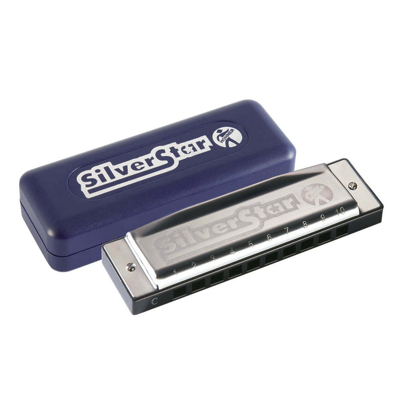 15-m50405XS-Hohner Enthusiast Silver Star Diatonic 10 Hole Harmonica (Key of E)-Living Music