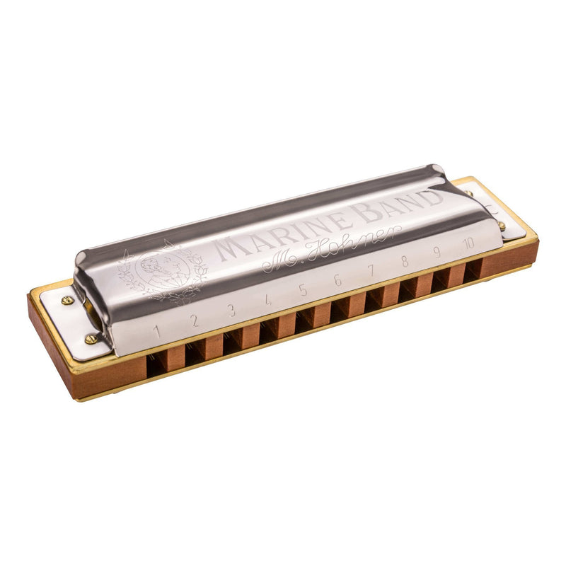 15-M1896066X-Hohner 'Marine Band 1896' Diatonic 10 Hole Harmonica (Key of F)-Living Music
