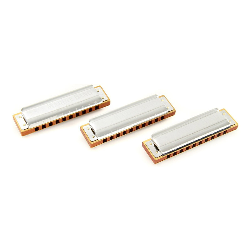 15-M1896XP-Hohner 'Marine Band 1896' Pro Pack Diatonic 10 Hole Harmonicas (Keys of G, C, A)-Living Music