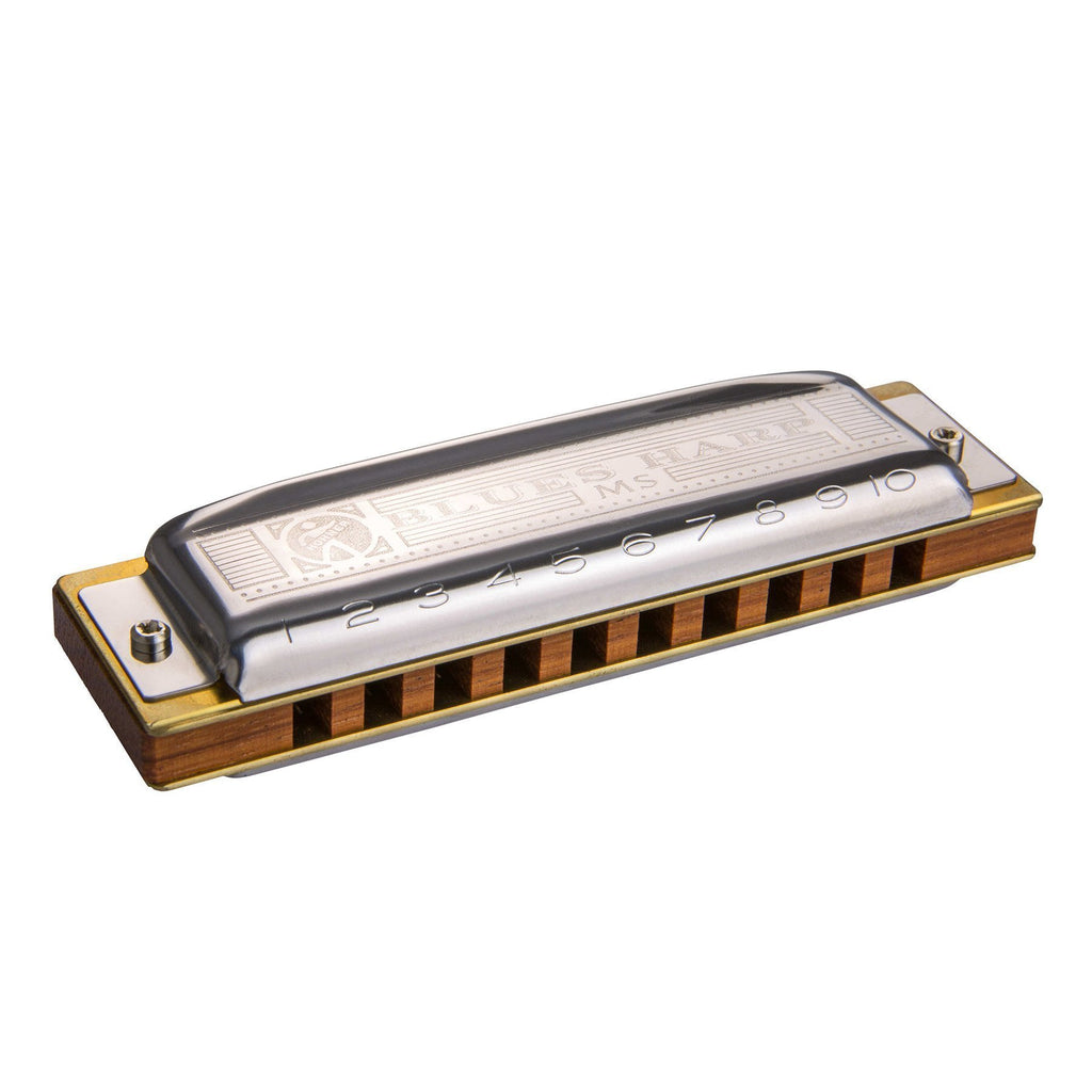 15-M533076X-Hohner MS Blues Harp Diatonic 10 Hole Harmonica (Key of F#)-Living Music