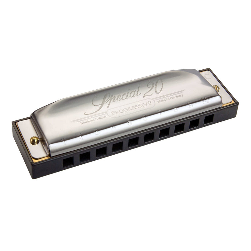 15-M560116X-Hohner 'Progressive Special 20' Diatonic 10 Hole Harmonica (Key of Bb)-Living Music