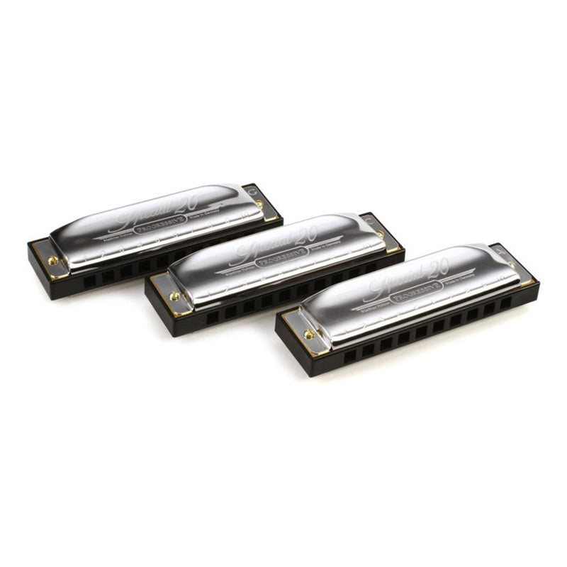 15-M5601XP-Hohner Progressive Special 20 Pro Pack Diatonic 10 Hole Harmonicas (Keys of G, C, A)-Living Music