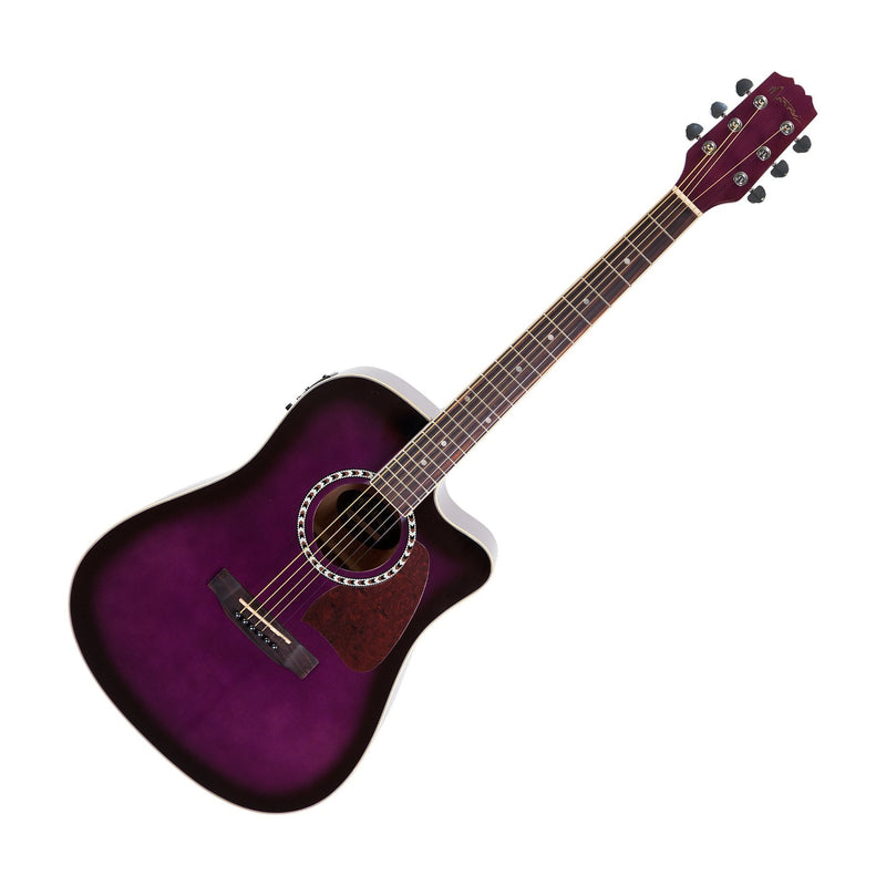 MDC-31-PSB-Martinez Acoustic-Electric Dreadnought Cutaway Guitar (Purpleburst)-Living Music