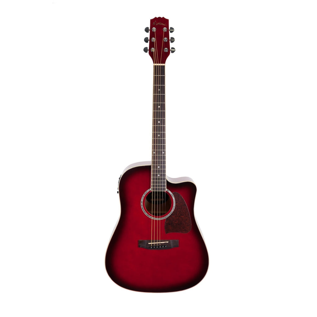 MDC-31-TWR-Martinez Acoustic-Electric Dreadnought Cutaway Guitar (Wine Redburst)-Living Music
