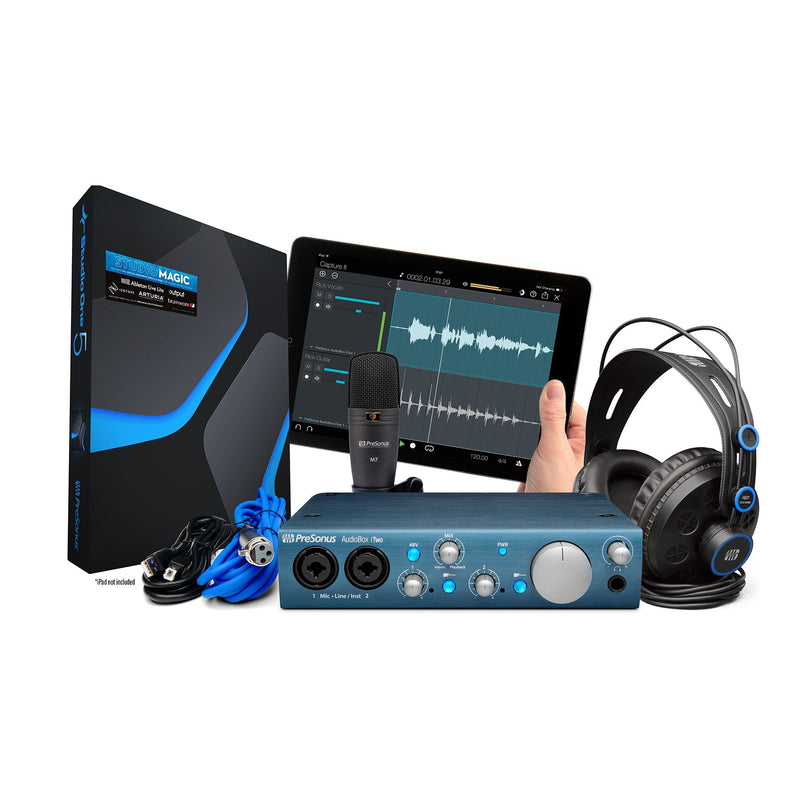 PRE-AB-ITWOSTUDIO-PreSonus 'AudioBox iTwo Studio' Recording Pack with USB Interface, Headphones, Mic and Software-Living Music