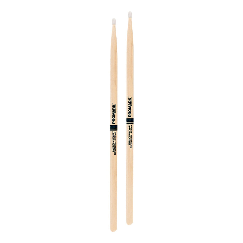 TXR5AN-Promark Classic 5A Natural Hickory Nylon Tip Drumsticks-Living Music