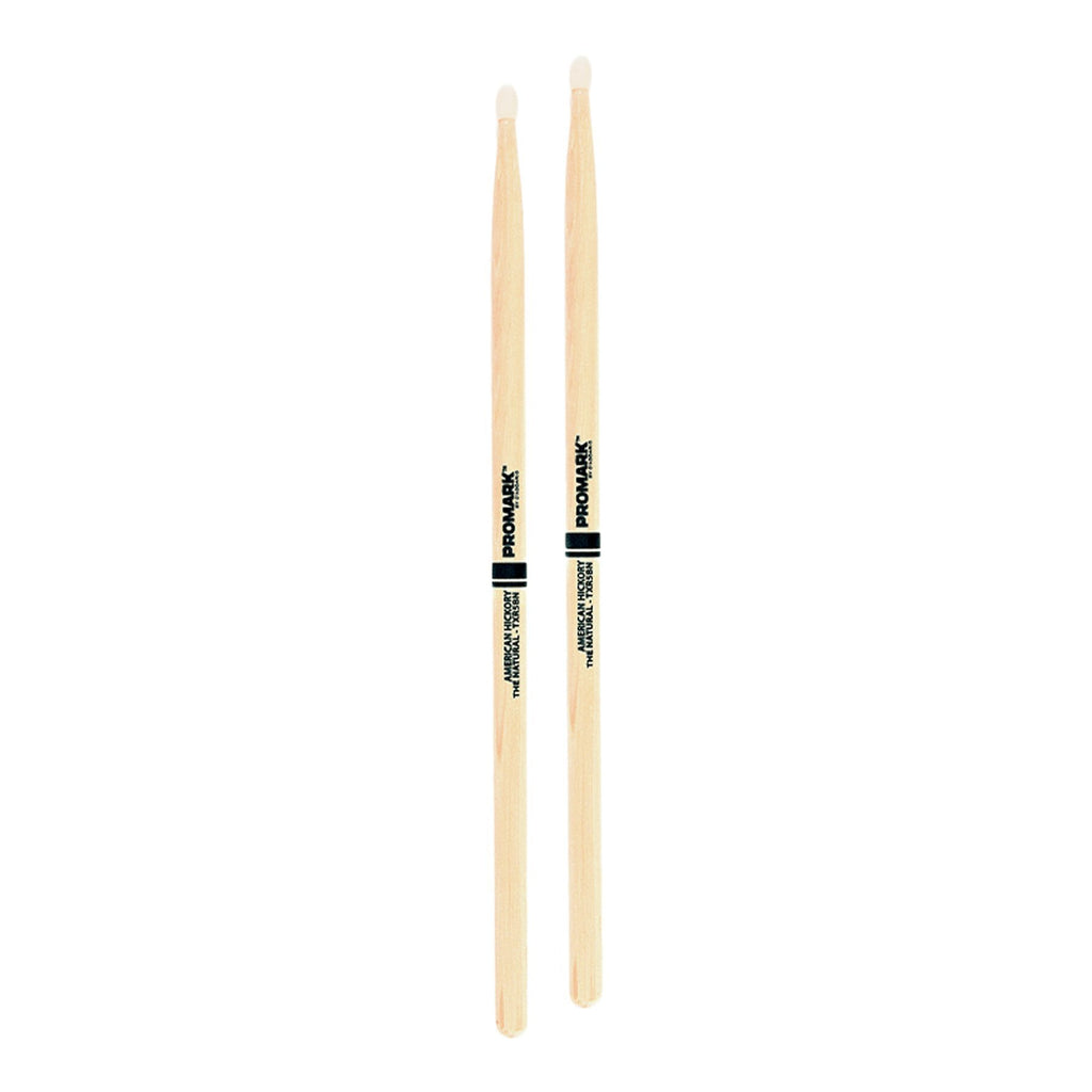 TXR5BN-Promark Classic 5B Natural Hickory Nylon Tip Drumsticks-Living Music