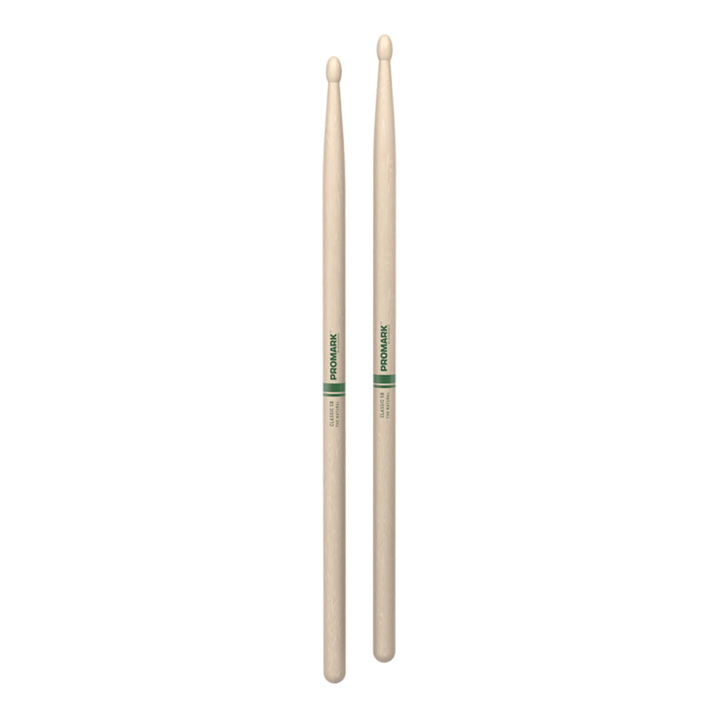 TXR5BW-Promark Classic 5B Natural Hickory Wood Tip Drumsticks-Living Music