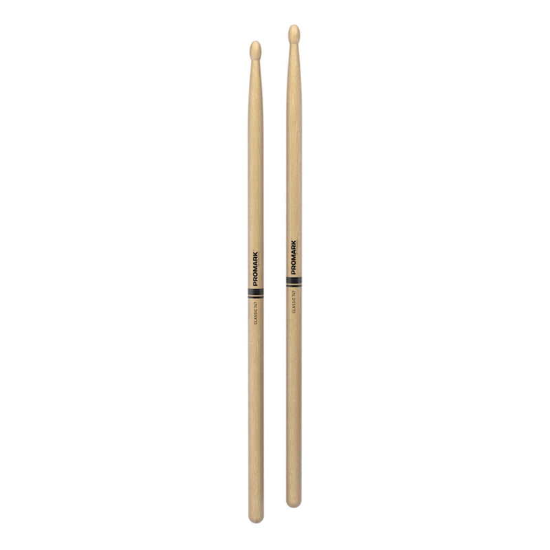 TX747W-Promark Classic 747 Natural Hickory Wood Tip Drumsticks-Living Music