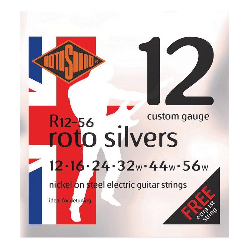 R1256-Rotosound R1256 Roto Silvers Nickel on Steel Electric Guitar Strings (12-56)-Living Music