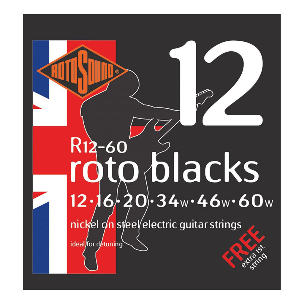 R1260-Rotosound R1260 Roto Blacks Nickel on Steel Electric Guitar Strings (12-60)-Living Music