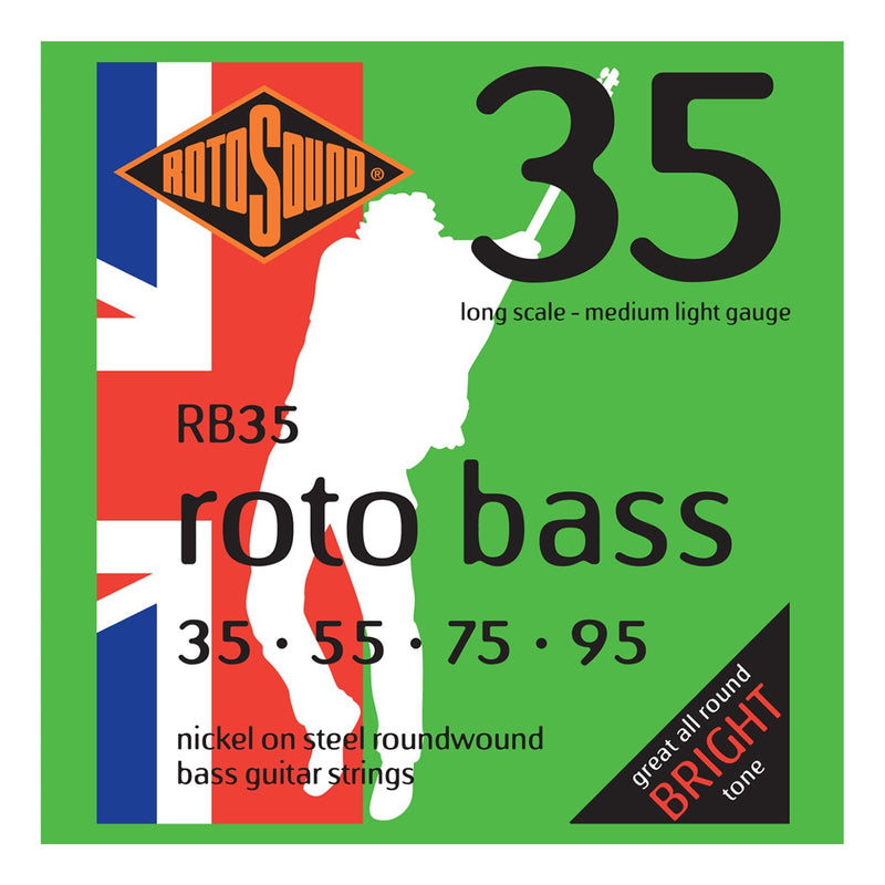 RB35-Rotosound RB35 Rotobass Medium/Light Nickel on Steel Bass Guitar Strings (35-95)-Living Music