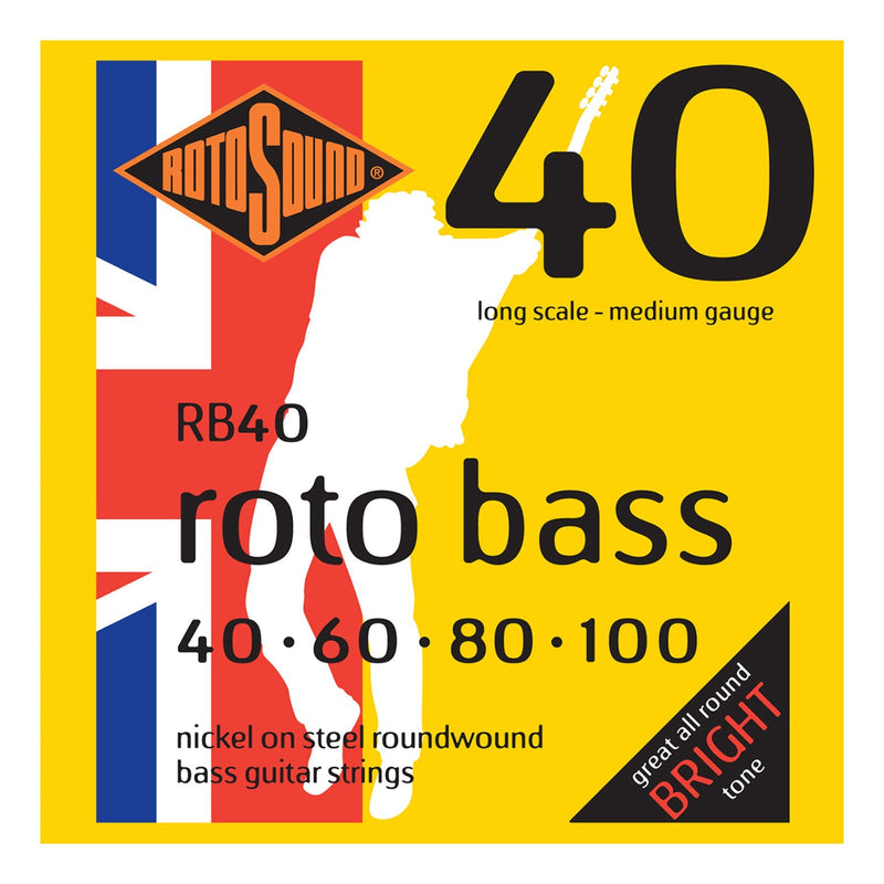 RB40-Rotosound RB40 Rotobass Medium Nickel on Steel Bass Guitar Strings (40-100)-Living Music