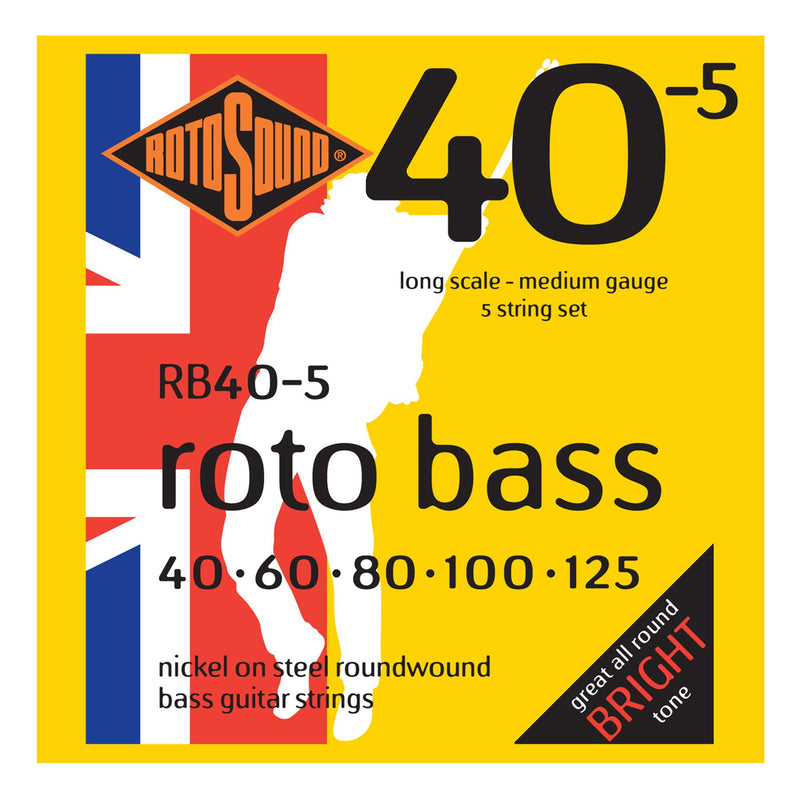 RB405-Rotosound RB405 Rotobass Medium Nickel on Steel 5-String Bass Guitar Strings (40-125)-Living Music