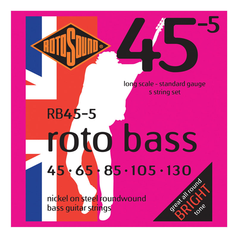 RB455-Rotosound RB455 Rotobass Standard Nickel on Steel 5 String Bass Guitar Strings (45-130)-Living Music