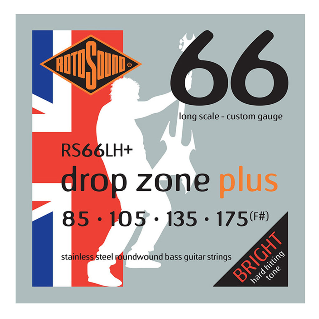 RS66LH+-Rotosound RS66LH+ Swing Bass Drop Zone Plus Stainless Steel Bass Guitar Strings (85-175)-Living Music