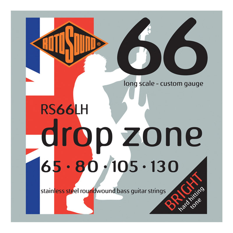 RS66LH-Rotosound RS66LH Swing Bass Drop Zone Stainless Steel Bass Guitar Strings (65-130)-Living Music