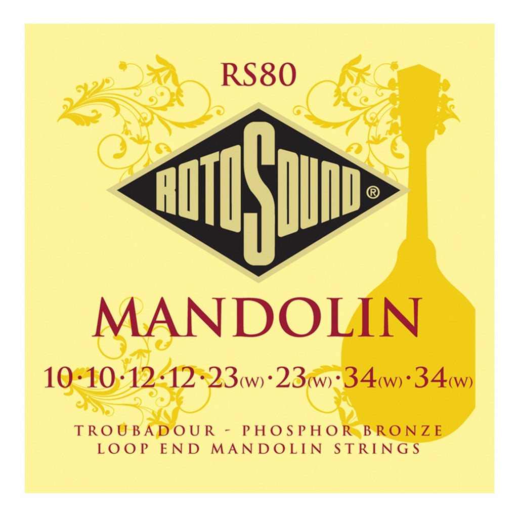 RS80-Rotosound RS80 Troubadour Phosphor Bronze Loop End Mandolin Strings (10-34)-Living Music