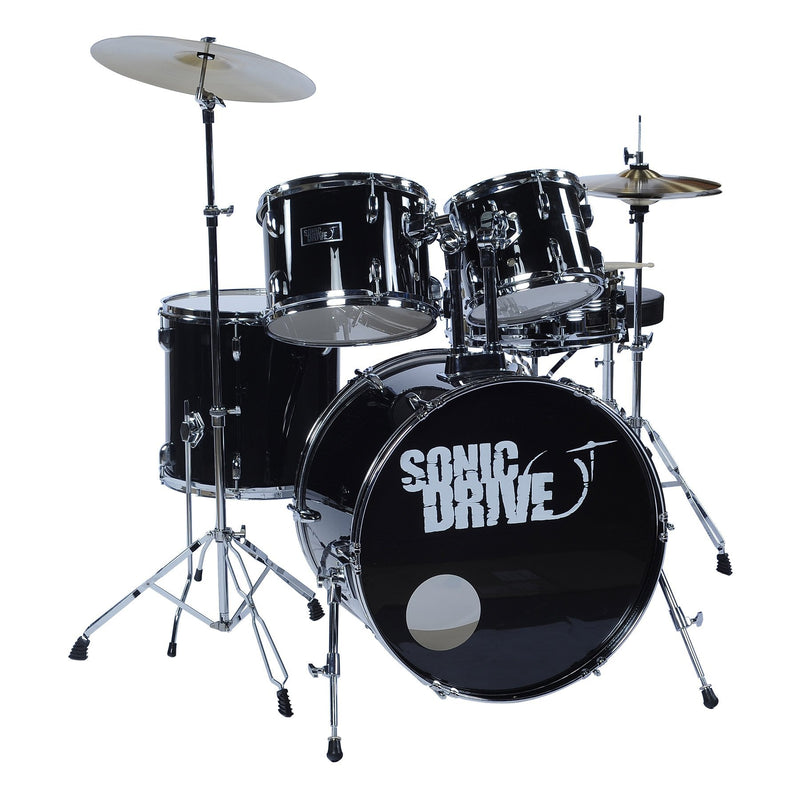 "SDP-0F22-BLK-Sonic Drive 5-Piece Fusion Drum Kit with 22"" Bass Drum (Black)-Living Music"