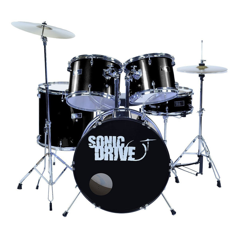 "SDP-BK11-BLK-Sonic Drive 5-Piece Rock Drum Kit with 22"" Bass Drum (Black)-Living Music"