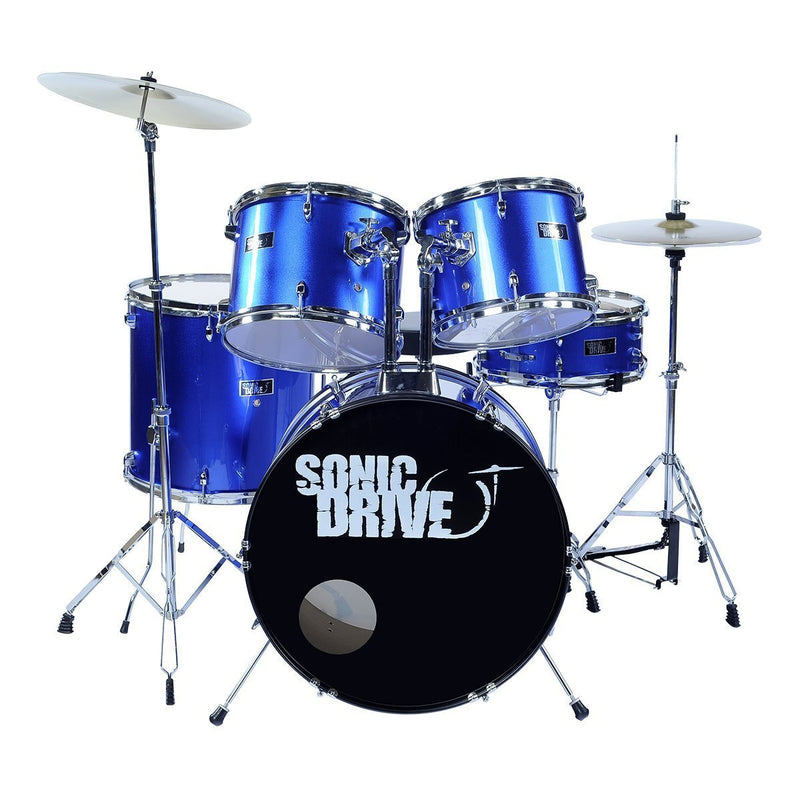 "SDP-BK11-MBL-Sonic Drive 5-Piece Rock Drum Kit with 22"" Bass Drum (Metallic Blue)-Living Music"