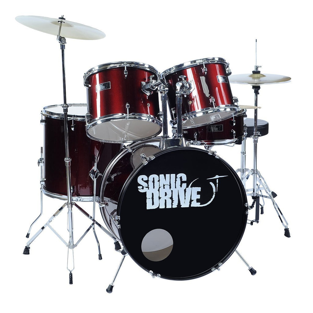 "SDP-BK11-MWR-Sonic Drive 5-Piece Rock Drum Kit with 22"" Bass Drum (Metallic Wine Red)-Living Music"