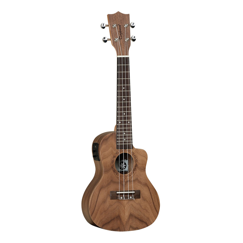 TUT13E-Tanglewood 'Tiare' Pacific Walnut Electric Cutaway Concert Ukulele with Gig Bag (Natural Satin)-Living Music
