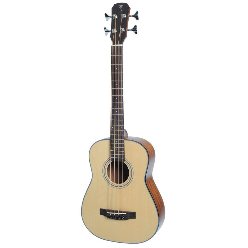 TR-TB-NST-Timberidge 'TR Series' Spruce Solid Top Acoustic-Electric Bass Travel Guitar with Gig Bag (Natural Satin)-Living Music