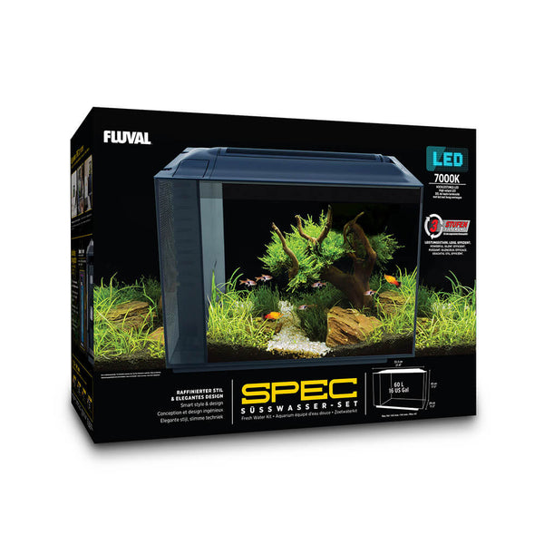 "Fluval Spec V 16 Gallon Freshwater Aquarium Kit (21.8"" x 17.5"" x 11.5"") Black"