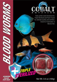 Cobalt Frozen Blood Worms Cubes - Bay Bridge Aquarium and Pet