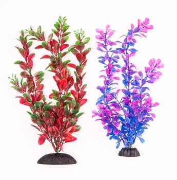 "Aquatop Green/Red Plant & Purple/Pink Plant 10"" 2 Pack - Bay Bridge Aquarium and Pet"