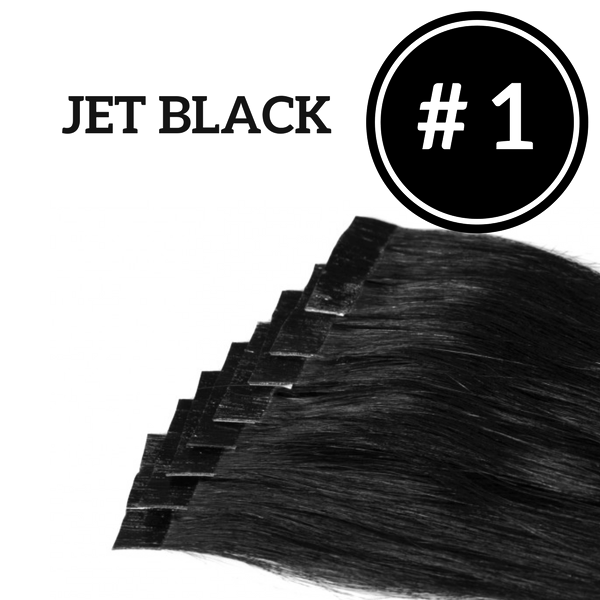 TAPE IN Jet Black #1 - 20 pieces (50g) - Identity Hair Extensions