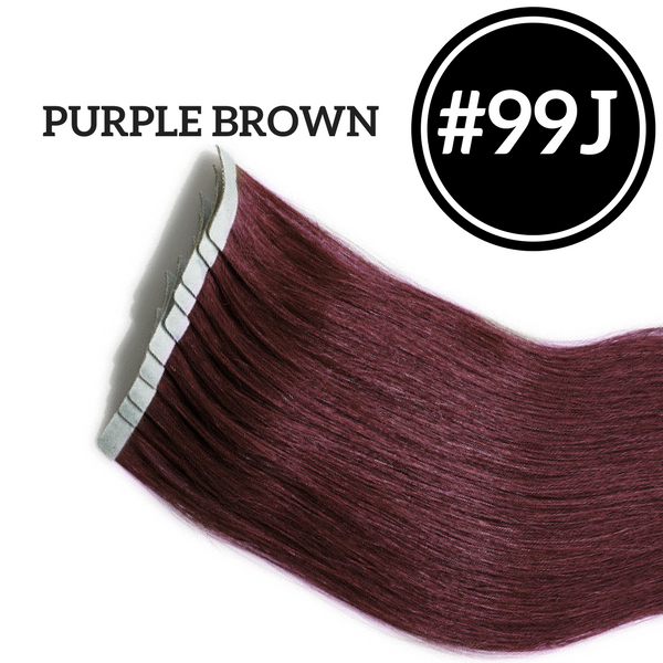 TAPE IN Purple Brown #99J - 20 pieces (50g) - Identity Hair Extensions