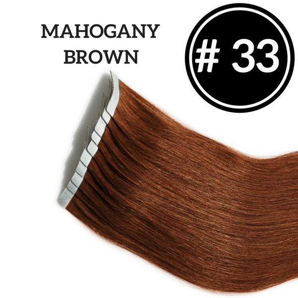TAPE IN Mahogany Brown #33 - 20 pieces (50g) - Identity Hair Extensions