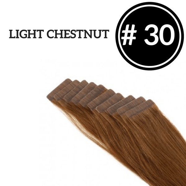 TAPE IN Light Chestnut #30 - 20 pieces (50g) - Identity Hair Extensions