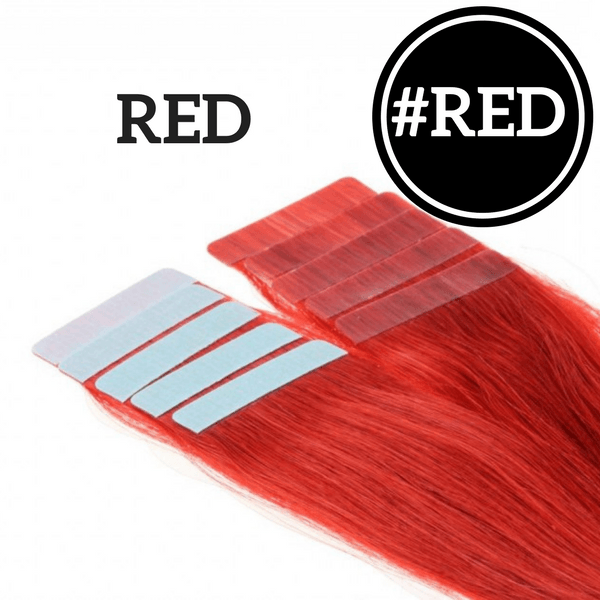 TAPE IN Red Color - 20 pieces (50g) - Identity Hair Extensions