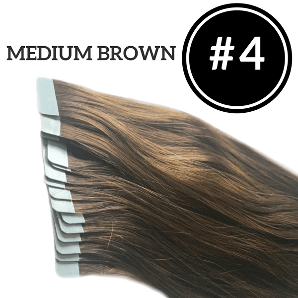 TAPE IN Medium Brown #4 - 20 pieces (50g) - Identity Hair Extensions