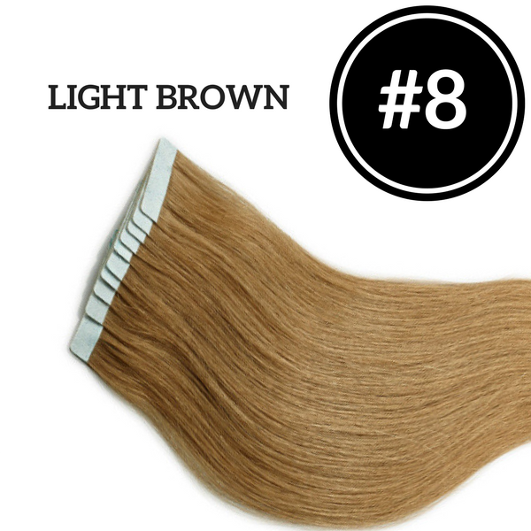 TAPE IN Light Brown #8 - 20 pieces (50g) - Identity Hair Extensions