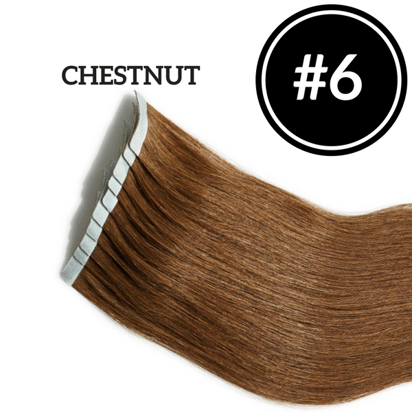 TAPE IN Chestnut #6 - 20 pieces (50g) - Identity Hair Extensions