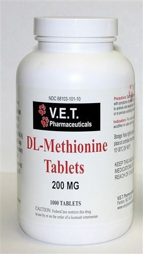 V.E.T. Pharmaceuticals DL-Methionine Tablets 200 mg 1000 Count Bottle