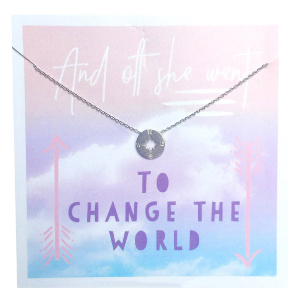 And Off She Went Compass Necklace