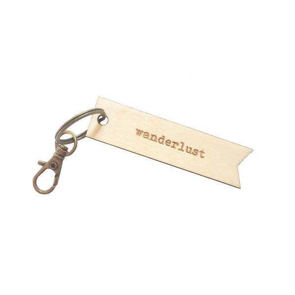 Wanderlust Wooden Key Chain