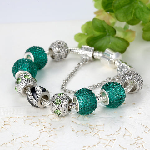 Murano Green Glass Beads Bracelets