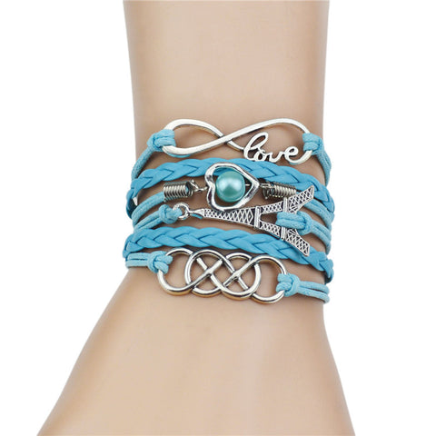 vintage Bead Rope Love Heart  Leather  Bracelets