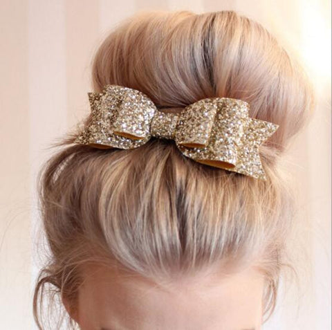 Big Glitter Hair Bow Hairpins