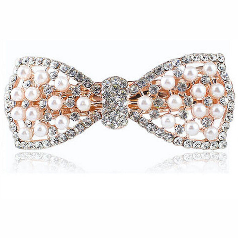 2Pcs Crystal Rhinestone Knot Hair Clips